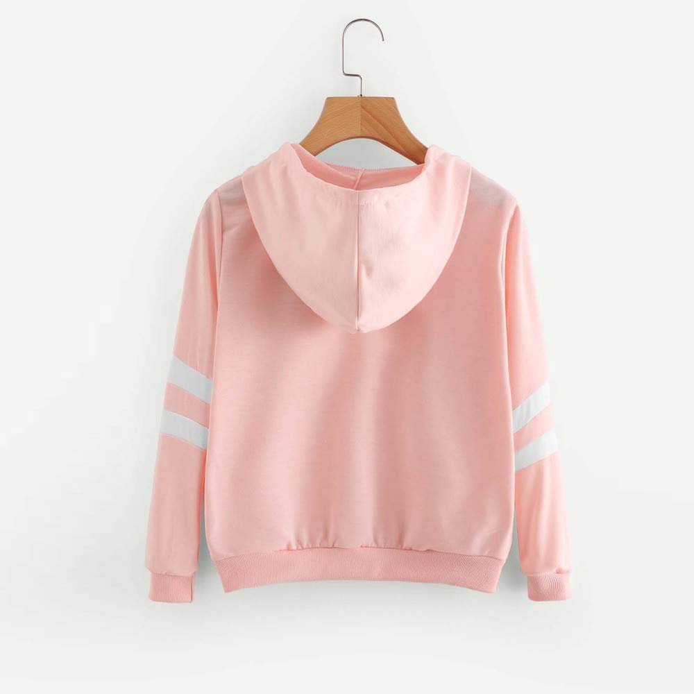 Sweatshirt Femme Imprim/é /à Capuche Fille Sport Pull Femme Hiver Chic Mode Court Pullover A Rayures Broderie Pas Cher Fashion Chemisier