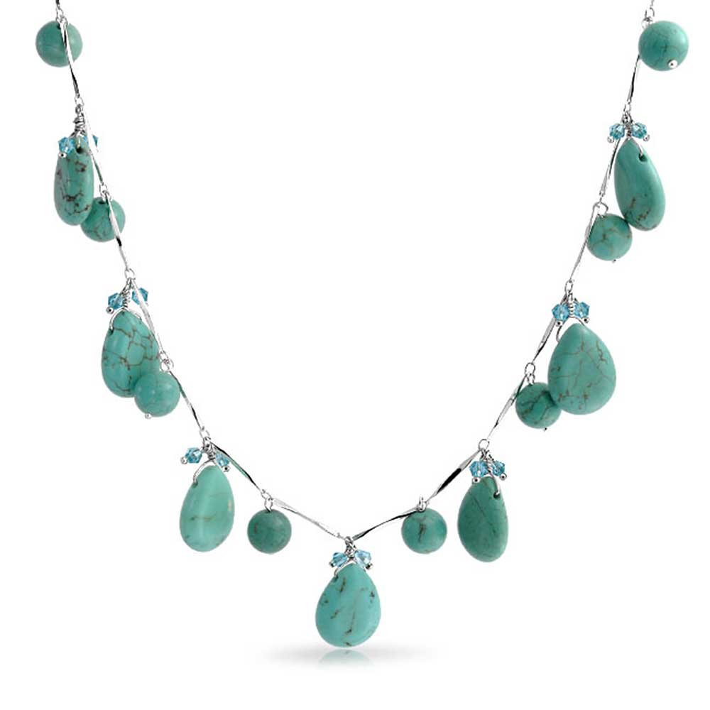 Bling Jewelry Drop Style Reconstituted Turquoise Crystal Silver Plated Necklace 16 Inches