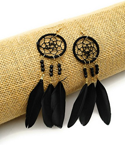 Dreamcatcher Feather Earrings (Satyam Kraft Women's Women's Vintage Boho Feather Dream Catcher Earrings For & By (Black) Standard Black)
