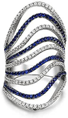 Bling Jewelry Simulated Sapphire CZ Modern Wave Armor Ring Rhodium Plated