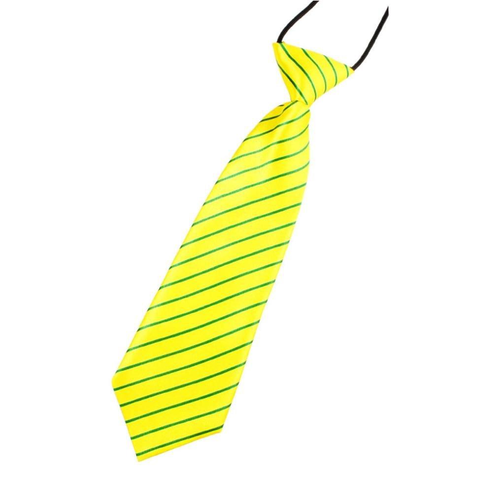PSFS New School Boys Kids Elastic Print Striped Colourful Wedding Party Tie Necktie