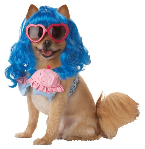 Halloween Express Wigs (Pup-A-Razzi Cupcake Girl Girl Dog Costume, X-Small, Blue/Pink)