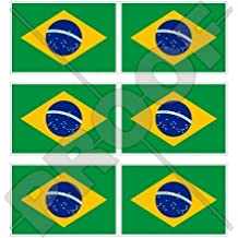 "BRAZIL Brazilian Flag 40mm (1,6"") Mobile Cell Phone Vinyl Mini Stickers, Decals x6"