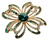 L. Erickson Crystal Clover Brooch - Fern Green/Emerald/Chrysolite/Antique Gold