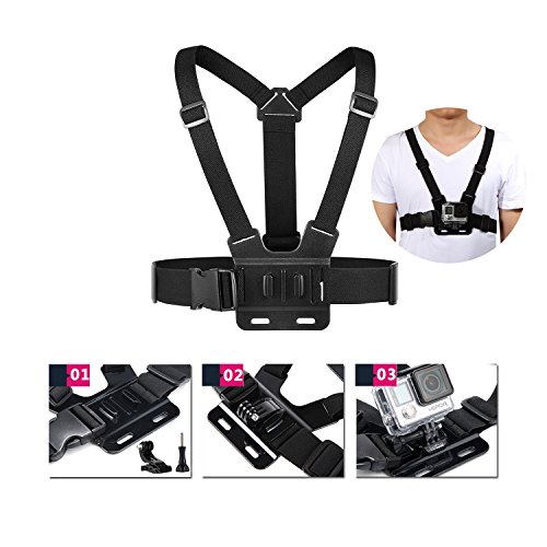 51tQ1TyuuSL - VANWALK 25-1 Accessories Kit for Gopro 4,3+,3,2, SJ4000 SJ5000 SJ6000 Camera / Chest Harness Mount / Head Strap / Gorpo Selfie Stick / Bike Handlebar Mount / Three-way Adjustable Pivot Arm