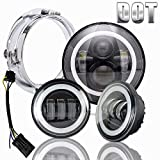 7 motorcycle headlight assembly - Halo LED Headlight 7 inch DOT Approved 4.5 inch Fog Passing Lights Ring Kit Motorcycle Headlamp for Harley Davidson Heritage Softail Deluxe Fatboy Touring Road King Ultra Classic Electra Street Glide