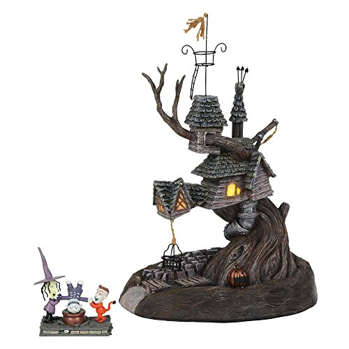 """Department56 Nightmare Before Christmas Village Lock Shock and Barrel Treehouse Lit Building and Figurine, 10.7"""", Multicolor"""