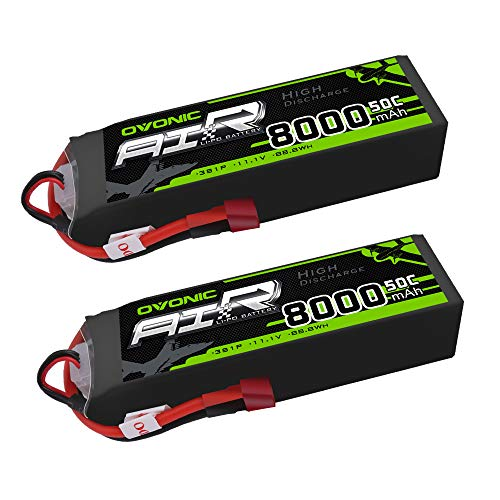 Ovonic 11.1V 50C 8000mAh Lipo Battery with Deans T Plug for RC Airplane Helicopter Car Truck Boat (2 Packs) ()