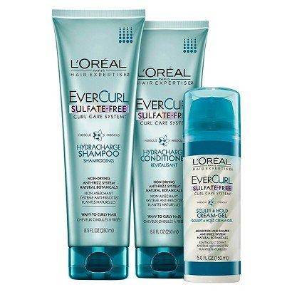 L Oreal Paris EverCurl Hydracharge Shampoo, 8.5 Fluid Ounce & LOreal Paris EverCurl Hydracharge Conditioner, 8.5 Fluid Ounce