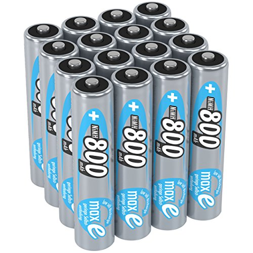 ANSMANN maxE AAA Rechargeable Batteries 800mAh Low Self Discharge (LSD) NiMH AAA Battery pre-charged for remote, phone etc. (16-Pack)
