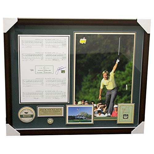 Jack Nicklaus Framed Autographed Signed 1986 Masters Scorecard Horizontal Shadowbox - Golden Bear Certified Authentic