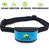 [2017 NEW CHIP] Pro Pet Works RECHARGEABLE No Bark Dog Collar - NO SHOCK Bark Control Training Collar For Small Dogs And Medium/Large Dogs
