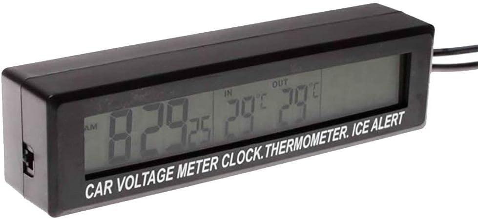 /écran LED Bicolore Multifonction Accessoires de Voiture Horloge SAXTEL Voltm/ètre 3 en 1 avec Fonction de Phosphorescence thermom/ètre num/érique dint/érieur