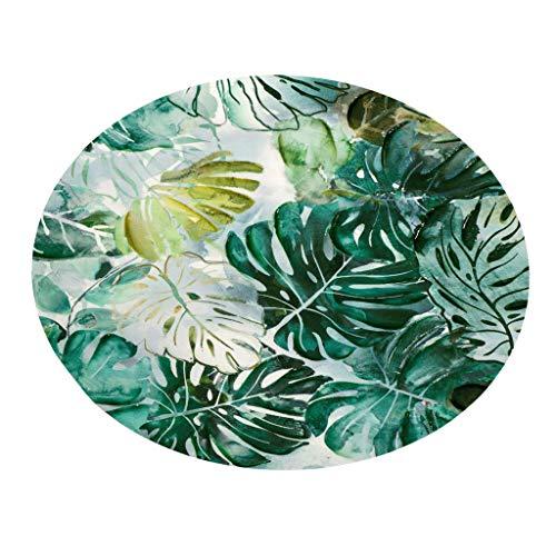 (CANAFA Area Rug Tropical Plant Leaves Pattern Round Flannel Bathroom Kitchen Carpet 100cm)