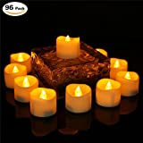 200 Hours Flameless Led Timer Tea Light Battery Operated Amber Flickering Timed Fake Mini Candles Timing Function (6 Hrs On 18 Hrs Off) Electric No Flame Tealights Votive For Christmas 96 PCS