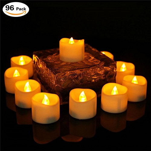 200 Hours Flameless Led Timer Tea Light Battery Operated Amber Flickering Timed Fake Mini Candles Timing Function (6 Hrs On 18 Hrs Off) Electric No Flame Tealights Votive For Christmas 96 PCS by Collect Beauty