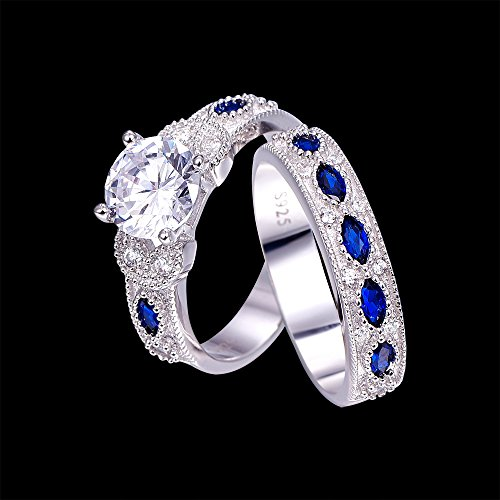 Bonlavie Round Cut CZ & Created Blue Sapphire Wedding Band Engagement Ring Set in 925 Sterling Silver Size 8