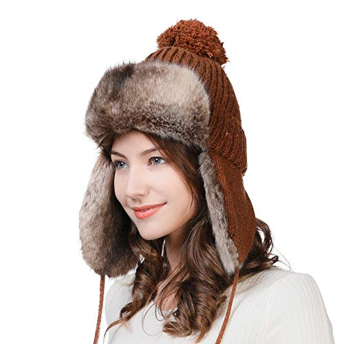 Womens Winter Wool Trapper Hunting Hat Ear Flaps Faux Fur Russian Ushanka Cold Weather Ski Bomber Knit Brown