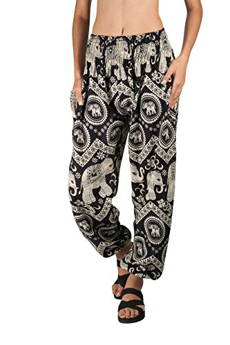 Fair Trade Elephant (JOOP JOOP Bohemian Tapered Elephant Harem Loose Yoga Pants, Black, S/M)