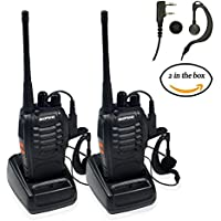 Ammiy baofeng BF-888S Walkie Talkie 2pcs in One Box with Rechargeable Battery Long Range 16 Channels Two Way Radio (2pcs radios)