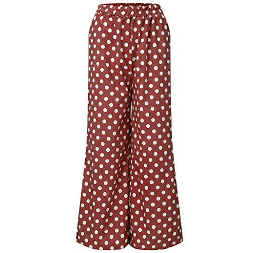TOTOD High Waisted Leggings for Women Casual Point Dot Print Wide Leg Palazzo Lounge Pants Red