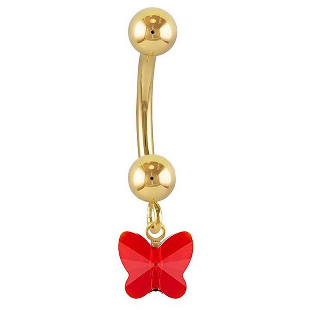 FreshTrends Red Petite Butterfly Swarovski Elements 14k Yellow Gold Belly Ring