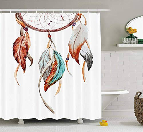 American Foam Fabric - Mallory Feather Shower Curtain, Watercolor Dream Catcher Native American Inspirations Traditional, Fabric Bathroom Decor Set with Hooks, 75 inches Long, Burnt Sienna Seafoam Grey