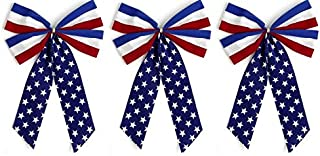 product image for Independence Bunting - 3- Pack! 4 Loop Red, White & Blue Patriotic Bows. American Made 4th of July Ribbon Bow are Good for Inside and Outdoors.