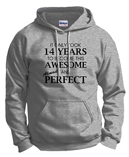 14th Birthday Party Supplies 14th Birthday Gifts For All Awesome Almost Perfect Hoodie Sweatshirt Large Ash