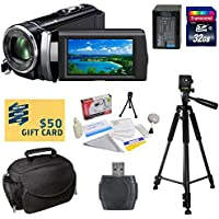 Sony HDR-PJ210 Digital HD Camcorder with Must Have Accessory Kit - Includes 32GB High-Speed SDHC Card + Card Reader + FV100 4200mAh Ultra High Capacity Li-ion Battery Pack + AC/DC Rapid Battery Charger + Deluxe Padded Carrying Case + Professional 60 Tripod + Lens Cleaning Kit including LCD Screen Protectors Photo Print