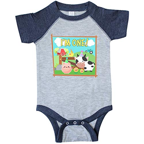 inktastic - I'm One! Infant Creeper 18 Months Vintage Heather and Navy 36529