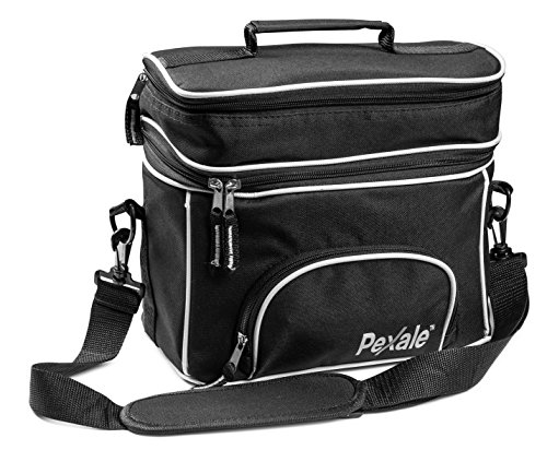 INSULATED LUNCH BAG- LARGE ADULT LUNCH BOX FOR MEN,WOMEN WITH DOUBLE COMPARTMENT AND ADJUSTABLE SHOULDER STRAP IN BLACK BY PEXALE(TM)