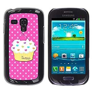 ZONECELL ( NO PARA S3 i9300 ) Negro Borde Trasera Funda Imagen Carcasa Diseño Tapa Cover Skin Case para Samsung Galaxy S3 MINI I8190 I8190N - magdalena pastelería dulce lunar rosado