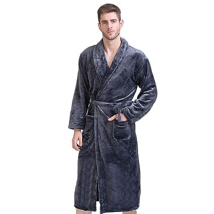 MERRYHE Franela De Lujo para Hombre Cómoda Bata De Baño Ropa De Dormir De Gran Tamaño