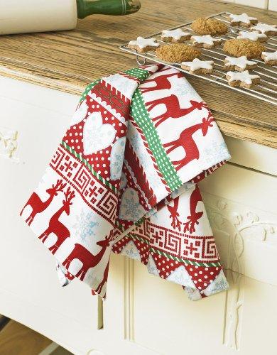 Nordic Reindeer & Snowflake Christmas Cotton Tea Towel: Amazon.co ...