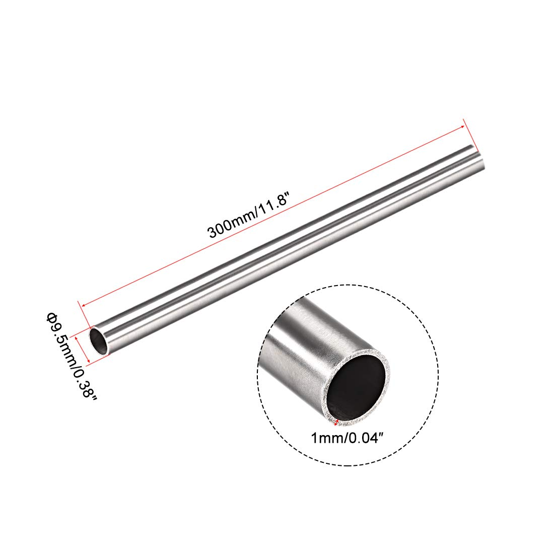 uxcell 4Pcs 304 Stainless Steel Capillary Tube Tubing 7.5mm ID 9.5mm OD 300mm Length 1mm Wall