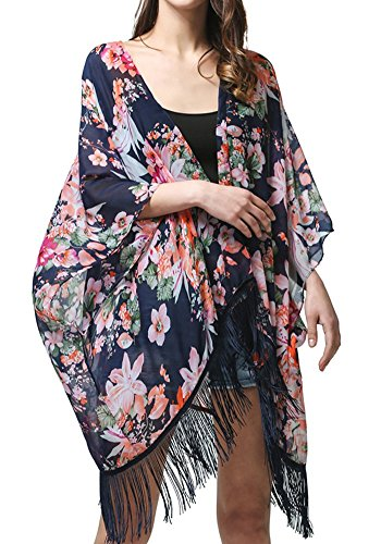 MissShorthair Women's Light Floral Print Chiffon Kimono Cardigan Coverup Blouse Tops