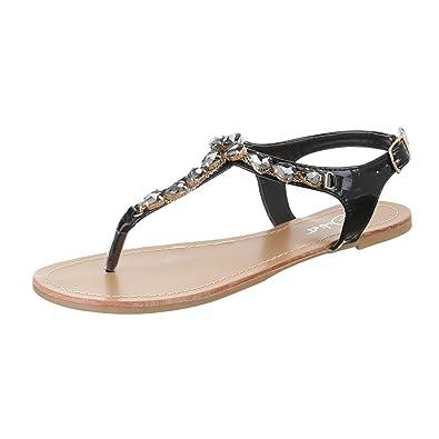 Ital Design Zehentrenner Damenschuhe Blockabsatz Schnalle Sandalen Sandaletten