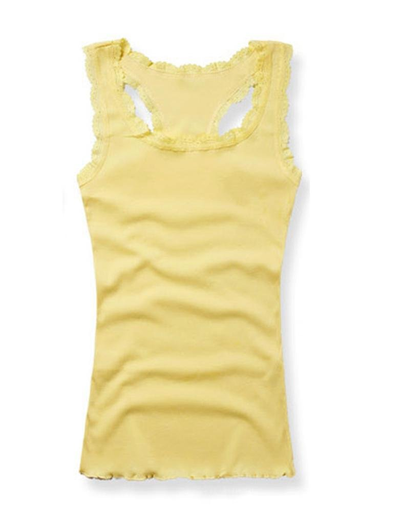 Legou Damen Basic Tee Tank Top Lace Trägerhemd Unterhemd LGMUBD0008-2