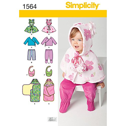 Simplicity Creative Patterns 1564 Babies' Top, Pants, Bib and Blanket Wrap, A (XX-Small-X-Small-Small-Medium-Large) (Creative Patterns)