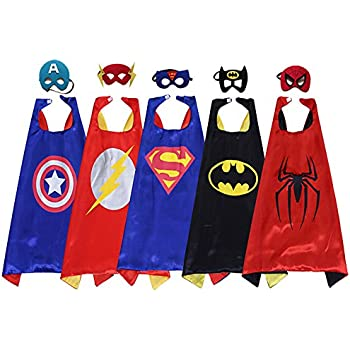 Amazon.com: Zaleny Kids Superhero Dress Up Costumes 5 Satin Capes ...