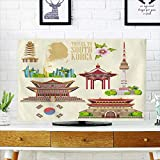 Analisahome Cover for Wall Mount tv South Korea Travel Vector Set with pagodas and Traditional Signs Cover Mount tv W19 x H30 INCH/TV 32''