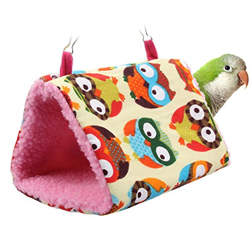 Fashion Plush Bird Hanging Cave Cage Snuggle Hut Tent Bed Birds Winter Warm Nest Bird Parrot Conure Bunk Toy Parrot Hammock | Leopard, Hearts, Owl Styles Size (Plus Finch Food)