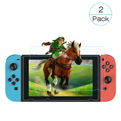 [Half Price Deal!] Voova Tempered Glass Screen Protector for Nintendo Switch, 0.3mm Anti-Scratch Full Coverage Screen [9H Hardness] for Nintendo Switch 2017 - Half Glasses Price