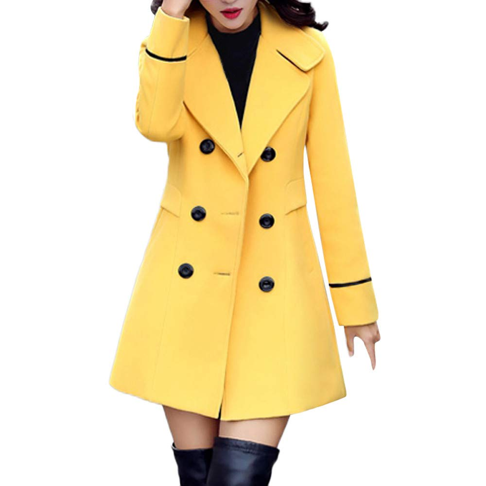 ZOMUSAR Women's Coat, Women Wool Double Breasted Coat Elegant Long Sleeve Work Office Fashion Jacket by ZOMUSAR