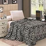Animal Print Ultra Plush Black & White Zebra Queen Size Microplush Blanket
