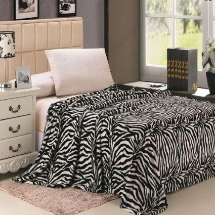Animal Print Ultra Soft Black & White Zebra Queen Size Microplush Blanket