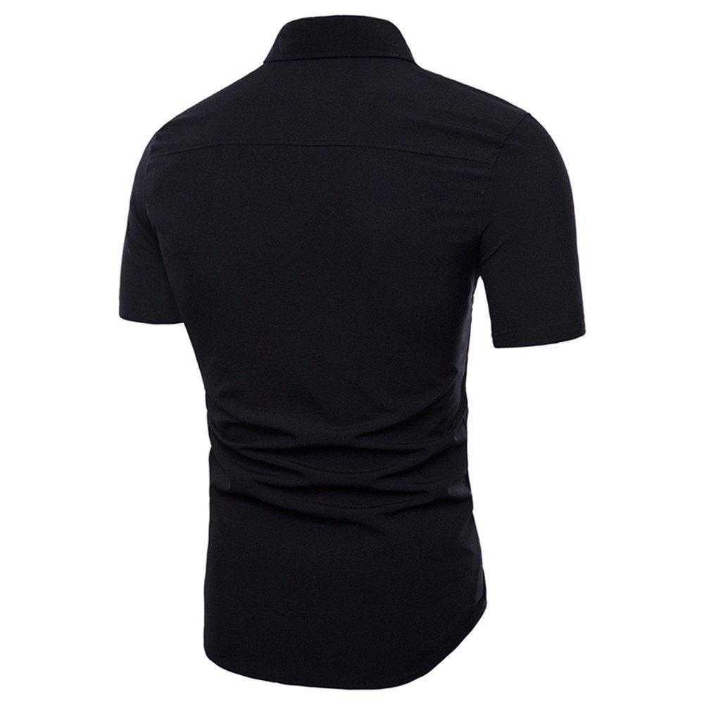 Moginp Chemisette Hommes Costume Mode Slim Chemise /à Manches Courtes