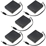WMYCONGCONG 5 PCS DC 5.5x2.1mm Male Connector 4x1.5V 12V Battery Holder Case Box Wired On/Off Switch w/Cover