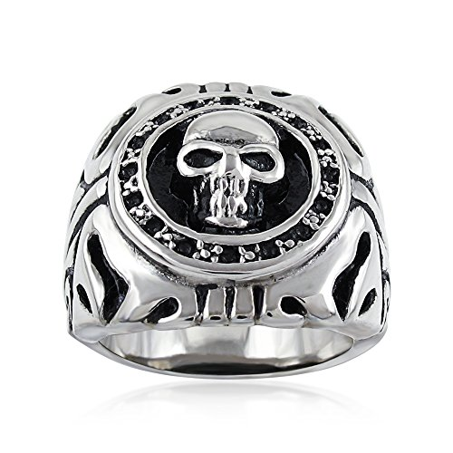 Awesome Wide Cast 26mm Stainless Steel Steel Skull Coin Surrounded by Flames Biker Ring. (11) Flame Skull Ring